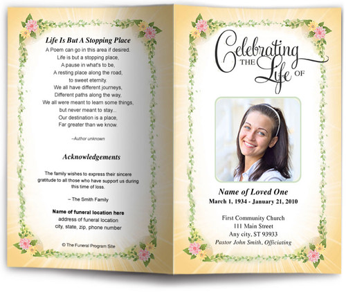 christie yellow funeral program template