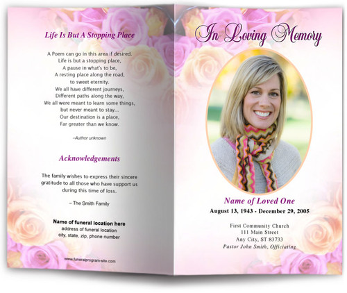 coral funeral program template