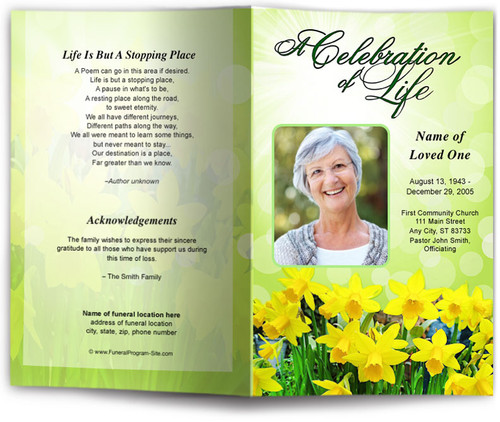 daffodils funeral program template site