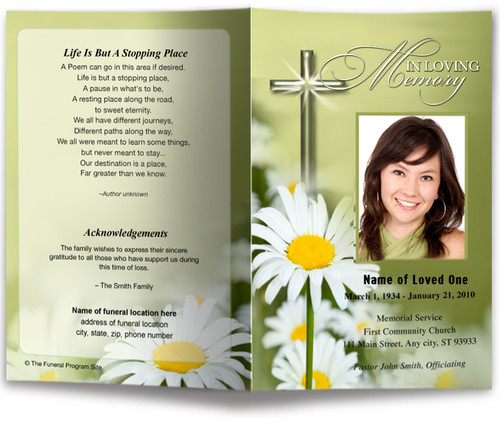 daisy front back funeral program template