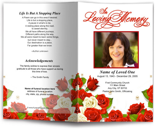 diva red funeral program template