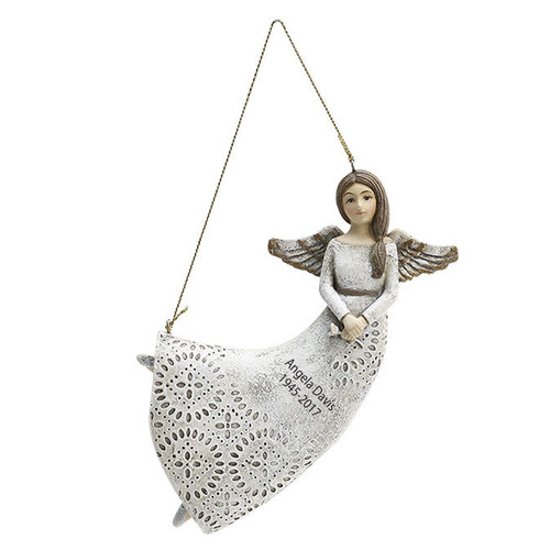 Hanging In Loving Memory Clasp Hand Angel Figurines