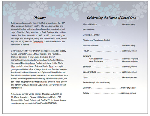enlighten funeral program template inside view