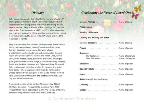 fields inside view funeral program template