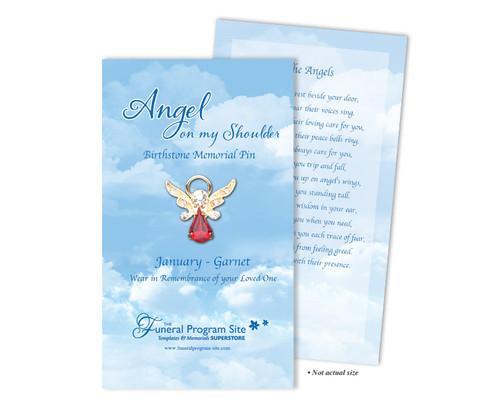 In Loving Memory Memorial Angel Birthstone Pin