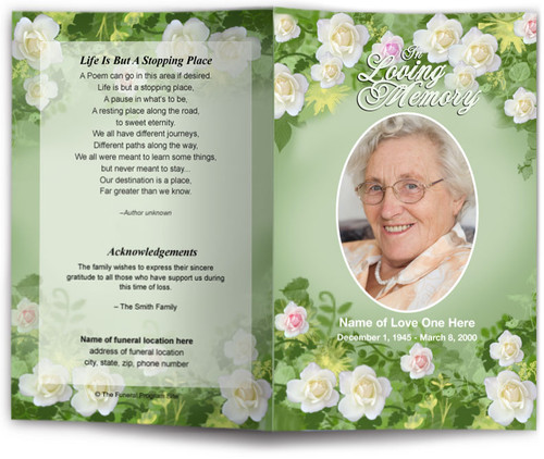 garden funeral program template