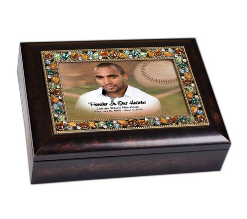 Baseball Bejeweled Memory Keepsake & Music Box