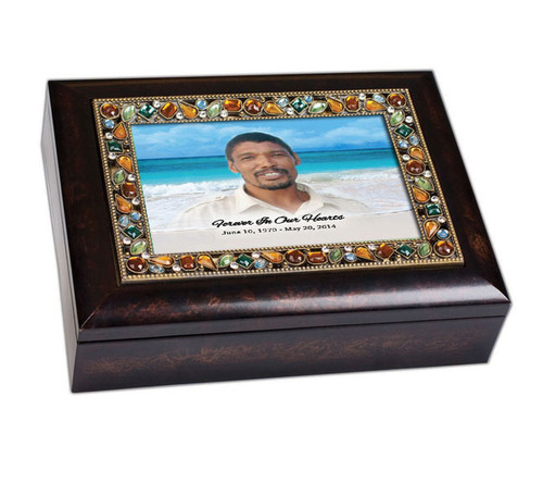 Caribbean Jewel In Loving Memory Music Memorial Keepsake Box