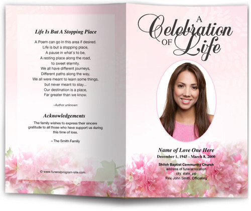 garland pink funeral program template