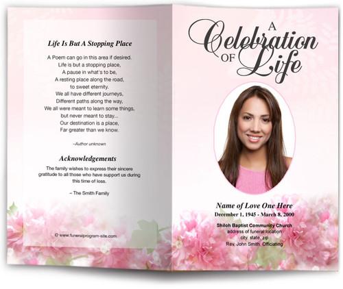 garland pink funeral program template