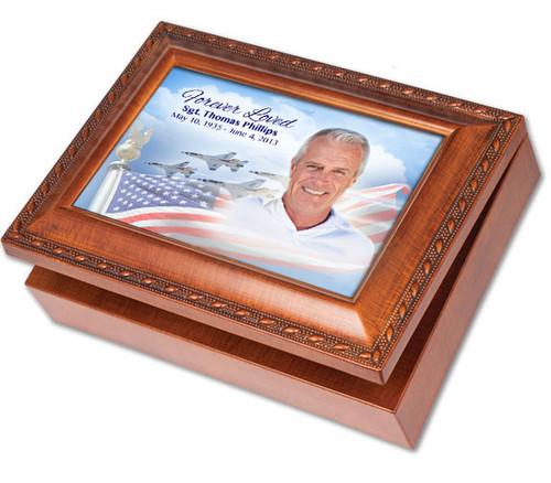 Air Force Wooden Music Memorial Keepsake Box