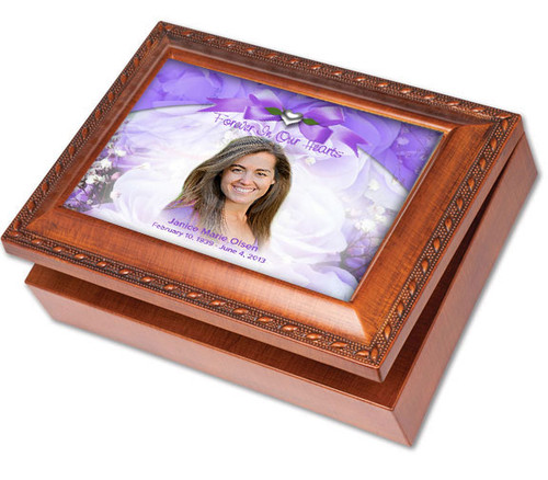 Amethyst Wooden Music Memorial Keepsake Box