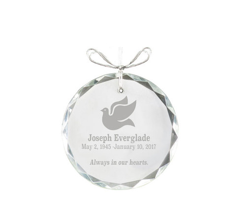 Circular Bevel Edge Crystal Christmas Ornament