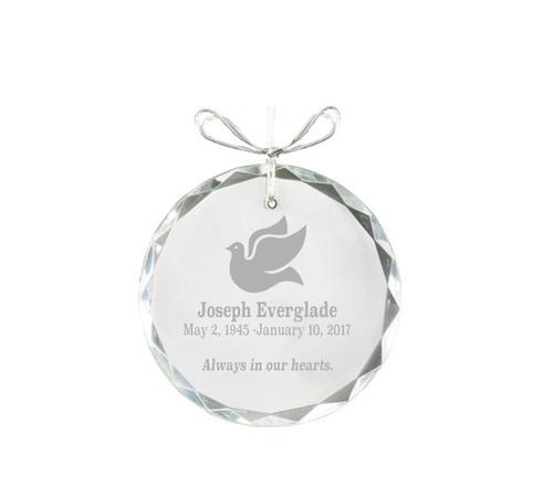 Circular Bevel Edge Crystal Christmas Ornament