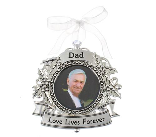 Dad Silver Memorial In Loving Memory Christmas Ornament