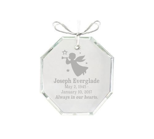Hexagon Bevel Edge Crystal Memorial Christmas Ornament