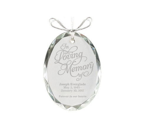 Oval Bevel Edge Crystal Christmas Ornaments
