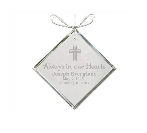 Triangle Bevel Crystal In Loving Memory Christmas Ornament