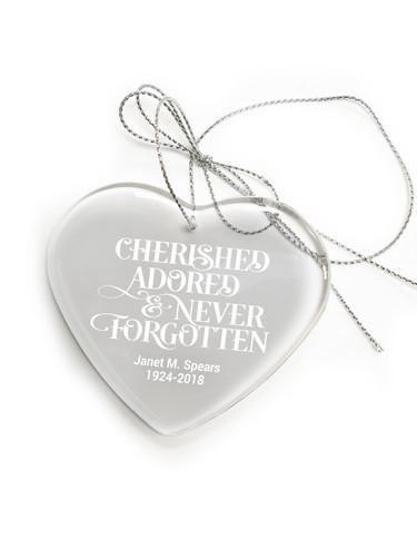 Crystal Heart Memorial In Loving Memory Christmas Ornament