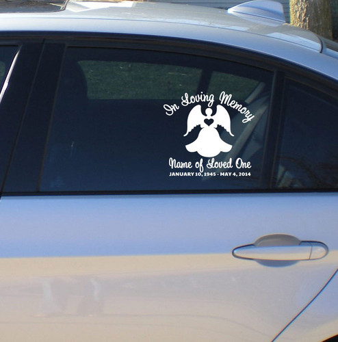 Angel Memorial In Memory Car Decals side view