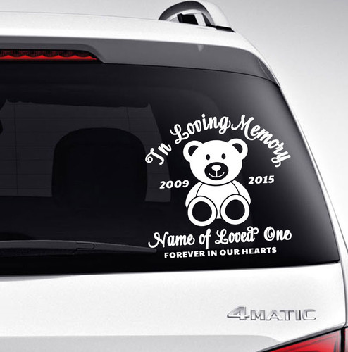 Bear In Memory Car Decals back view