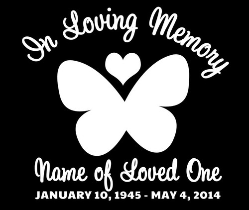 Butterfly In Memory Car Decals