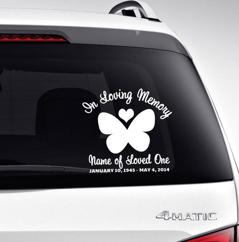 Butterfly In Memory Car Decals back view