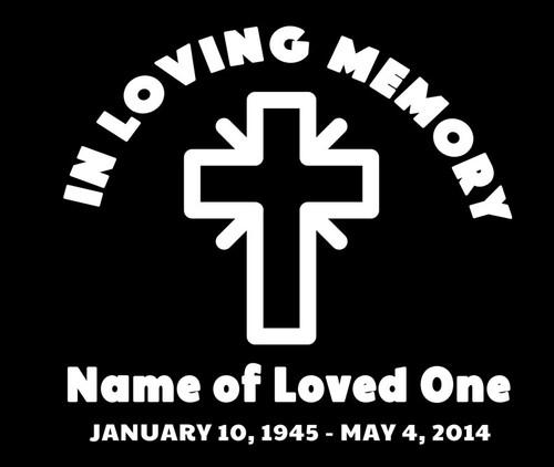Cross In Memory Car Decals