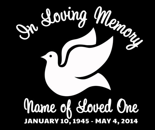 Dove In Memory Car Decals