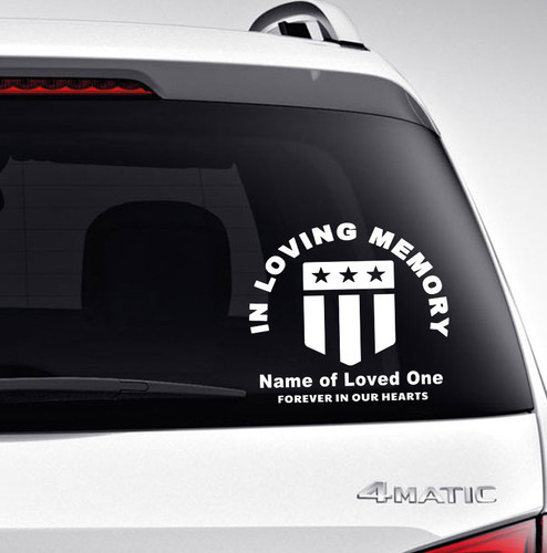 Flag In Memory Car Decals back view
