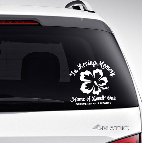Flower In Memory Car Decals back view