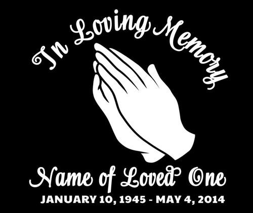 Hands In Memory Car Decals