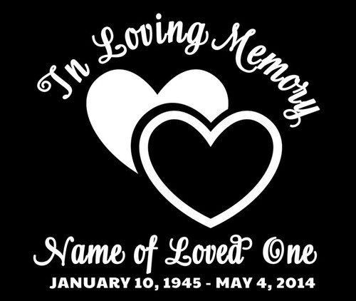Hearts In Memory Car Decals front