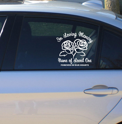 Roses In Memory Car Decals side view