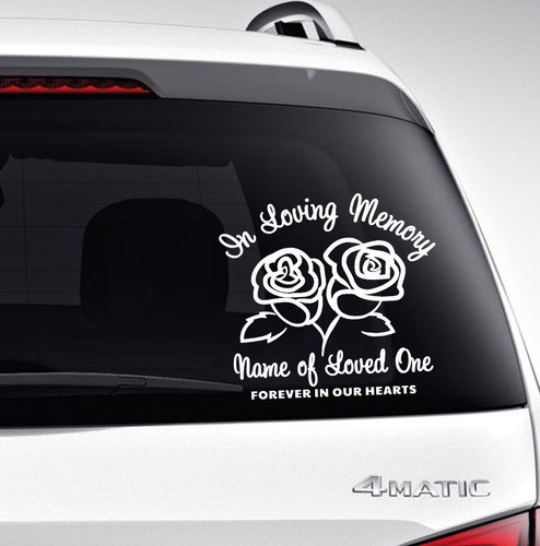 Roses In Memory Car Decals back view