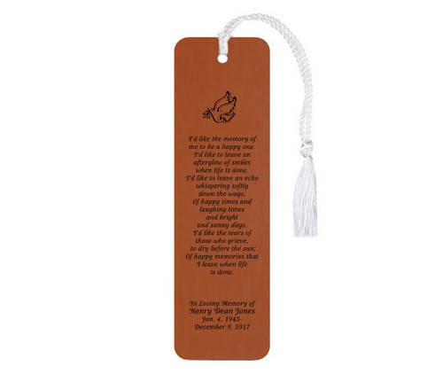 Afterglow Leatherette Funeral Poem Memorial Bookmark rawhide