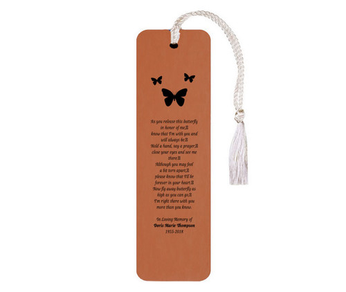 Leatherette Memorial Poem Bookmark Butterfly Release