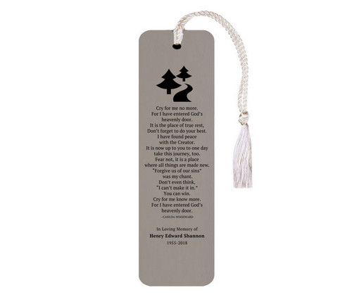 Leatherette Memorial Poem Bookmark Cry For Me No More