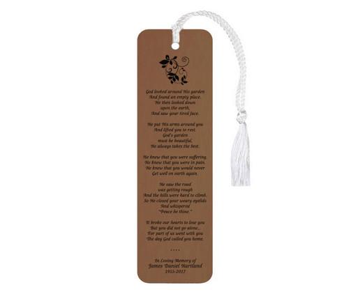 God's Garden Leatherette Memorial Scripture Bookmark