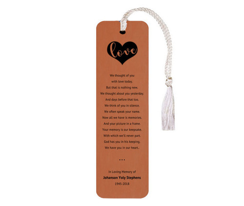 We Thought of You Leatherette Memorial Bookmarks With Poem rawhide
