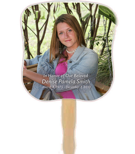 All Custom Photo Cardstock Memorial Church Fans With Handle front photo
