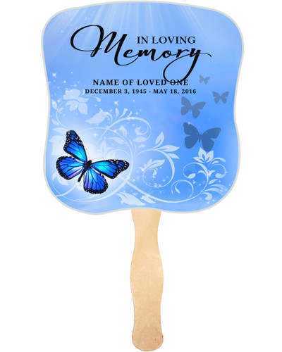 Butterfly Cardstock Memorial Church Fans With Wooden Handle front