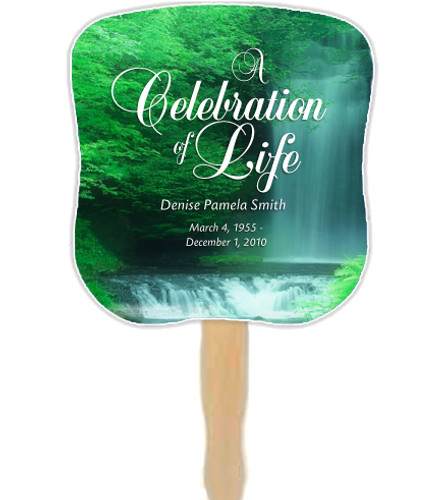 Cascade Cardstock Memorial Fan With Wooden Handle