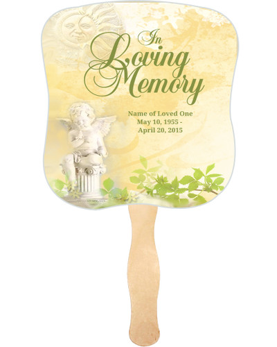 Cherub Cardstock Memorial Church Fans With Wooden Handle front