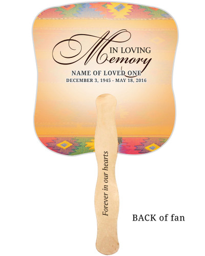 DeColores Cardstock Memorial Church Fans With Wooden Handle imprinted