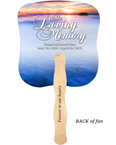 Dusk Cardstock Memorial Church Fans With Wooden Handle imprinted