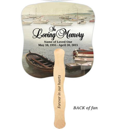 Fishing Cardstock Memorial Church Fans With Wooden Handle imprinted