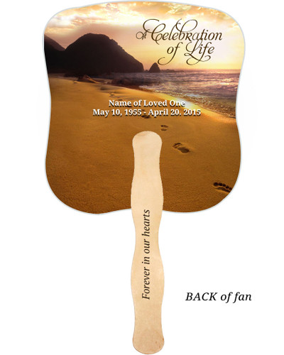 Footprints Cardstock Memorial Church Fans With Wooden Handle imprinted