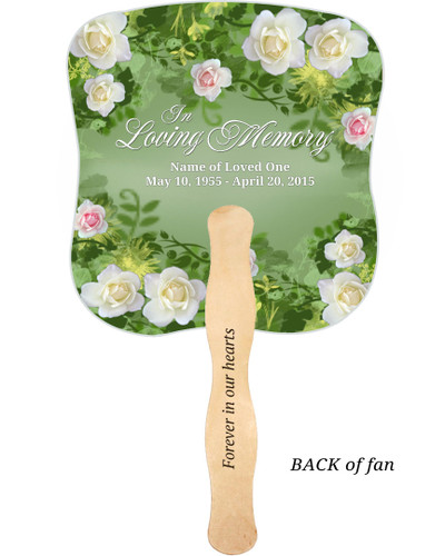 Garden Cardstock Memorial Church Fans With Wooden Handle imprinted