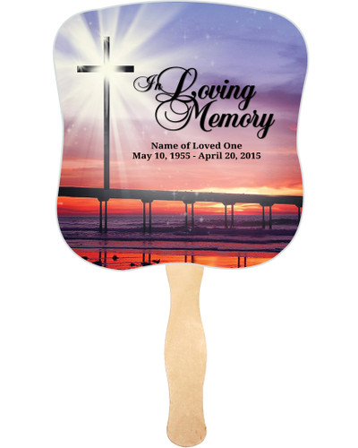 Glorify Cardstock Memorial Church Fans With Wooden Handle front